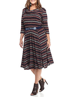 Robbie Bee Plus Size Striped Fit and Flare Sweater Dress