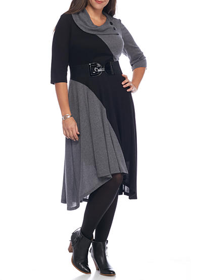 Robbie Bee Plus Size Colorblock and Flare Sweater Dress