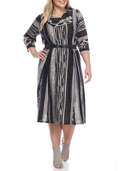Robbie Bee Plus Size Striped Fit and Flare Belted Knit Dress