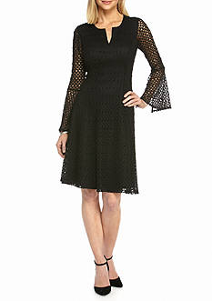 Robbie Bee Crochet Lace Fit and Flare Dress