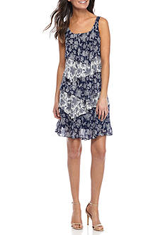 Robbie Bee Floral Printed Tiered Shift Dress