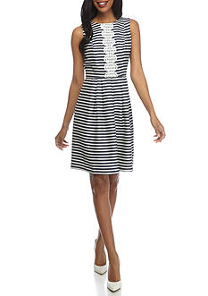 Robbie Bee Striped Crochet Trim Dress