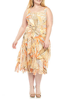 Robbie Bee Plus Size Printed Ruffle Dress