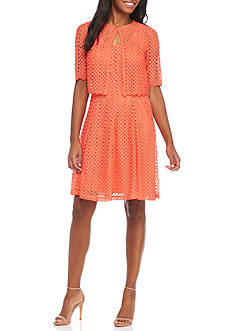 Robbie Bee Crochet Fit and Flare Jacket Dress