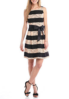 Robbie Bee Colorblock Lace Fit and Flare Dress