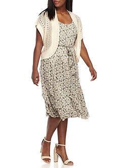Robbie Bee Plus Size Printed A-line Dress with Crochet Shrug