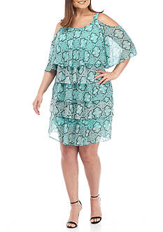 Robbie Bee Plus Size Printed Tiered Cold-Shoulder Shift Dress