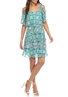 Robbie Bee Printed Tiered Cold-Shoulder Shift Dress