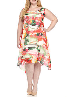 Robbie Bee Plus Size Floral Printed Shark Bite Shift Dress
