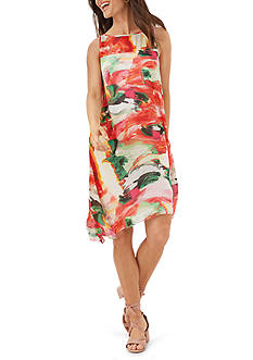 Robbie Bee Floral Printed Shark Bite Shift Dress