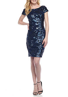 Marina Sequin Mesh Cocktail Dress