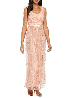 Marina Embroidered Mesh Gown