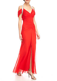 Marina Cap Sleeve Embellished Shoulder Gown