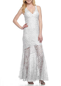 Marina Metal Lace Mermaid Gown