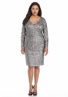Marina Plus Size Allover Sequin Sheath Dress
