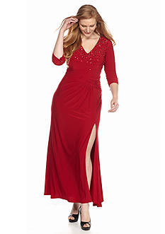 Marina Plus Size Bead Embellished Gown