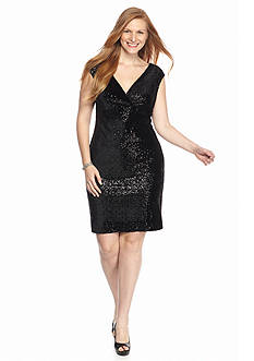 Marina Plus Size Crossover V-Neck Dress