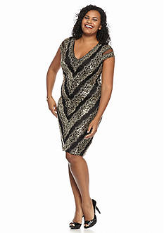 Marina Plus Size Sequin Cocktail Dress