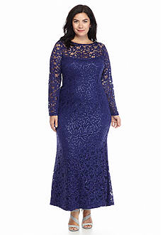 Marina Plus Size Lace and Sequin Gown