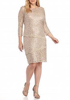 Marina Plus Size Tiered Sequin Lace Dress