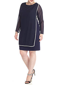 Marina Plus Size Rhinestone Embellished Overlay Shift Dress