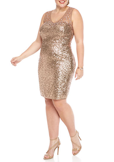 Marina Plus Size Bead and Sequin Cocktail Dress