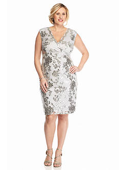 Marina Plus Size Sequin Mesh Cocktail Dress