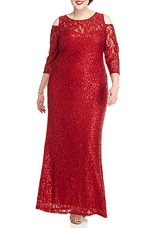 Marina Plus Size Cold-Shoulder Lace and Sequin Gown