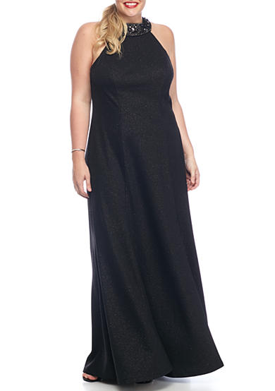 Marina Plus Size Beaded Halter Gown