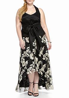 Marina Plus Size Peplum Hi-Lo Hem Gown