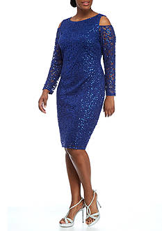 Marina Plus Size Cold Shoulder Lace Dress