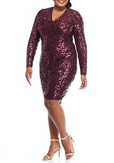 Marina Plus Size Lace and Sequin Sheath Dress