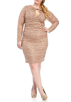 Marina Plus Size Lace Keyhole Neck Dress