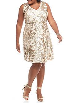 Marina Plus Size Sequin Mesh A-line Cocktail Dress