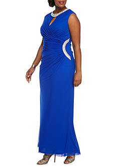 Marina Plus Size Bead Embellished Gown