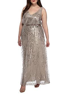 Marina Plus-Size Sequins Mesh Tie Waist Gown