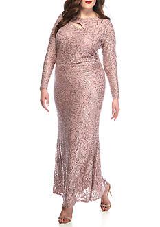 Marina Plus-Size Lace Keyhole Gown