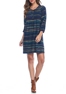 Danillo Boutique Stripe Lace-Up Shift Dress