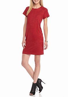 Danillo Boutique Laser Cut Faux Suede Shift Dress
