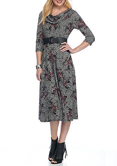 Danillo Boutique Floral Printed Rib Knit Belted Dress