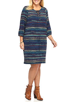 Danillo Boutique Plus Size Stripe Lace-Up Shift Dress