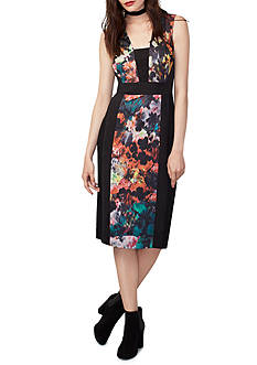 RACHEL Rachel Roy Mixed Media Printed Sheath Dress