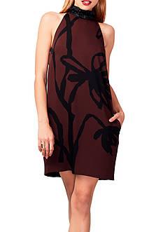 RACHEL Rachel Roy Floral Printed Halter Trapeze Dress
