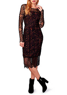 RACHEL Rachel Roy Lace Overlay Midi Dress