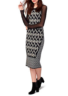 RACHEL Rachel Roy Sheer Mesh Sleeve Sweater Dress