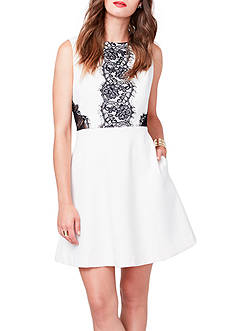 RACHEL Rachel Roy Fit and Flare Dress with Lace