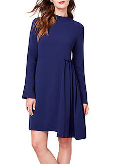 RACHEL Rachel Roy Mock-Neck Shirred Trapeze Dress