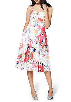 RACHEL Rachel Roy Floral Printed Fit and Flare Dress