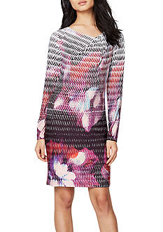 RACHEL Rachel Roy Printed Drape Neck Jersey Dress