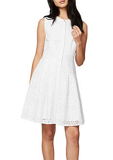 RACHEL Rachel Roy Laser Cut Fit and Flare Dress